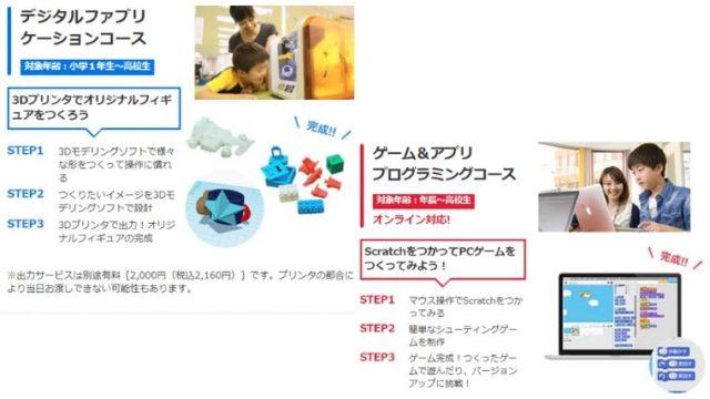 デジタルファブリケーションコース ゲーム&アプリ プログラミングコース 体験内容